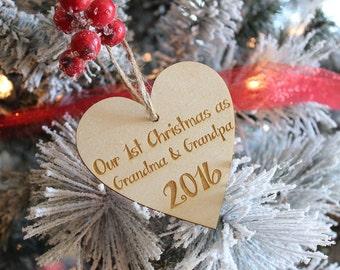 Grandma & Grandpa 1st Christmas Ornament New Baby Ornament Birth Announcement Ornament Grandparents Gift Wood Ornament #DownInTheBoondocks