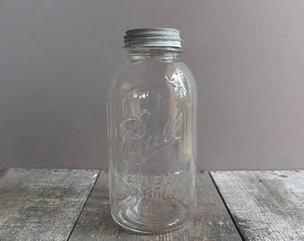Vintage Half-Gallon Ball Jar with Zinc Lid / Vintage Jar with Zinc Lid / Vintage Mason Jar