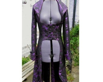 purple and black jacquard underbust coat fully lined. back corset style lacing.  one of a kind