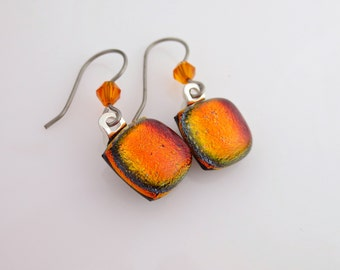 Titanium Earwires Dichroic Dangle Earrings Red Orange with Crystal B