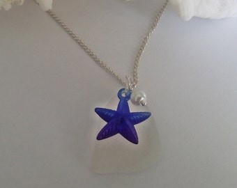 Blue starfish necklace - sea glass necklace - beach glas jewelry.