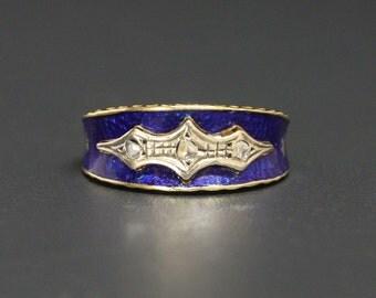 SPECIAL 18K Georgian Diamond Ring Early 1800s Size 7.75 Cobalt Blue Enamel