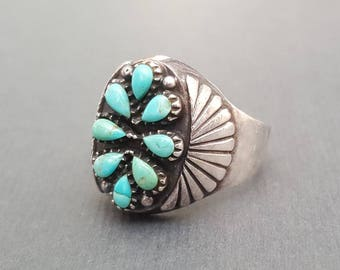 Petit Point Turquoise Ring Sterling Silver Size 11