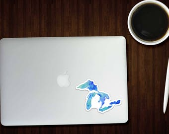 Great Lakes Sticker, Great Lakes Decal, Great Lakes Art, Michigan Sticker, Michigan Decal, Great Lakes, Laptop Sticker, The Big Lake, Mich