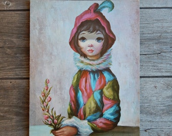 "Big Eyed Children Mardi Gras Girl textured Litho print by AAK Co NYC Maio, Margaret Toti Thomis, Unframed Print, 11"" x 14"""