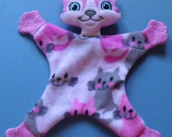 Cat girl baby Lovey, security blanket. Ready to ship.