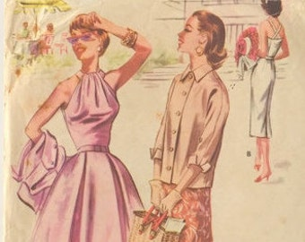 McCall's Pattern 3566, Halter Dress with Full or Slim Skirt and Jacket, 1950's Travel Wardrobe, Bust 30