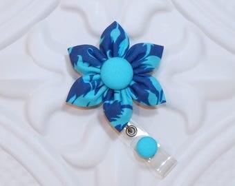 Flower Badge Holder - Id Badge Holder - Badge Reel - Retractable Badge - Nurse Badge Holder - Blue Flower