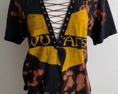 Wu Tang Distressed Logo Lace Up Top T Shirt