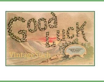 """Antique Good Luck St Patricks Day """"Story of Flowers Series""""  early 1900 postcard download"""