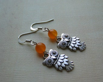Owl Earrings - Antiqued Silver Owl Charm and Orange Jade Gemstone Earrings - Great Owl Gift