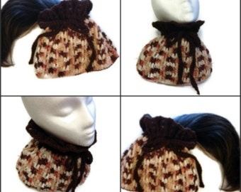 Ponytail Hat Cowl Neck Warmer Convertible Hat Dreadlock Band Digital PDF Crochet Pattern Is not a finished product.