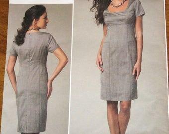 Vogue American Designer 1222, Anne Klein Empire Dress, Women's Misses Easy Sewing Pattern Size 6 8 10 12 Bust 30 31 32 34 Uncut Factory Fold