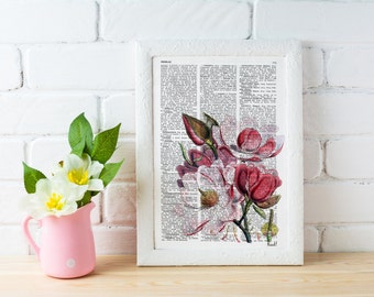 Summer Sale Vintage Book Print Dictionary or Encyclopedia Book print Magnolia Flower on Vintage Encyclopedic Bookart art BFL040