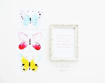 Butterfly Watercolor Postcard and Print Set 2