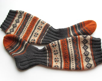 EU Size 37-38.5 - High Hand Knitted Patterned Fair Isle Socks - 100% Natural Wool - Warm Autumn Winter Clothing
