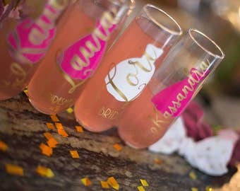 Bridal set, personalized stemless champagne flutes, bridal shower gift, wedding gift, wedding favors, bridesmaids gift, getting ready glass