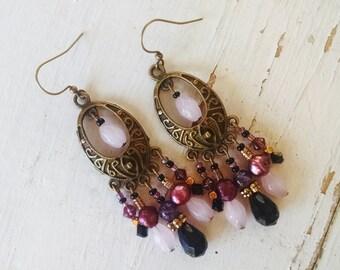 Bohemian chandelier earrings, Bohemian hippie gypsy long antique gold, amethyst, rose pearl, black and pink chandelier earrings