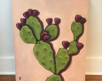 Prickly Pear Original Oil By Carin Vaughn