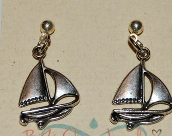 Silver Sailboat Earrings Dangle Earrings Woman Child Girl Kids Gift for Her