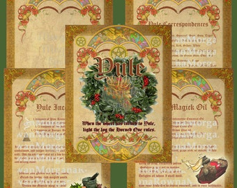 YULE SABBAT 5 Pages, Digital Download,  Book of Shadows Pages, Grimoire, Scrapbook, Spell, Wicca Magick, Pagan Ritual, Winter Solstice