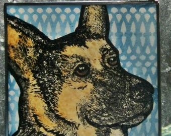 Stained Glass Dog Suncatcher German Shepherd   JRN34