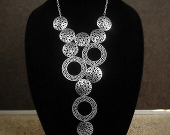 Statement bib necklace, modern geometric chunky silver tone necklace