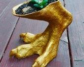 Tyrannosaurus Rex Foot Vase / Planter - Gold