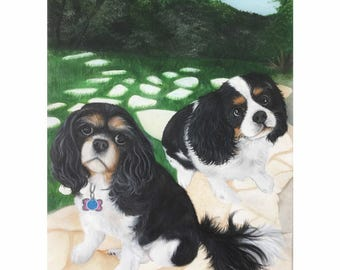Cavalier king charles spaniel gift custom pet portrait painting from photo hand painted on canvas two pets wall art 16x20