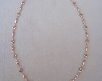 """High Polish Rose Gold Open Petite Heart Linked 18"""" Chain"""