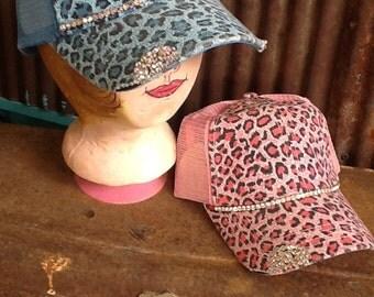 Hat Leopard Cheetah Print Bling Cap