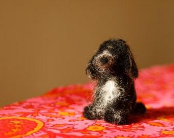 Bertie the Black Cocker Spaniel - needle felt scultpure - miniature pet