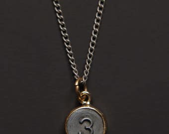 Necklaces for Men - Numerology - Number 3 Necklace - Personalized Men Jewelry - Mens Jewelry - Number Three Pendant - silver chain for men