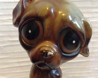 Keane Style Big Eye Dog Figure.  Plastic Figure.  Vintage 1960.  Big Eyes.   Mod, pop, Mid century Kitsch, Eames Panton era.
