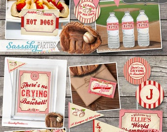 Vintage Girls Baseball Birthday Collection / INSTANT DOWNLOAD / Editable & Printable Rockford Peaches Party Decor Set / A League of Her Own