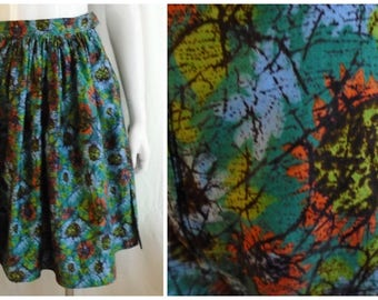 Vintage 1950s Cotton Print Skirt and Shorts Set Batik Stylized Flowers 2 Piece Set Rockabilly