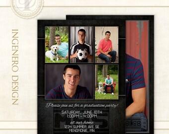 Graduation Invitation,  Photo Cards, Senior Boy Invitation, Announcement, Templates, Photoshop, Graduation Cards, Graduation Card, Caleb