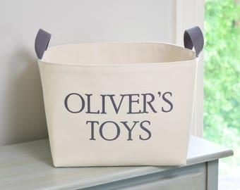 Personalized Toys Canvas Storage Bin, Gray