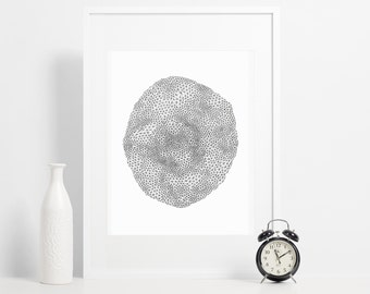 Geometric Poster / Abstract  Black and White Triangles Pen Drawing / Minimalist Print Wall Art