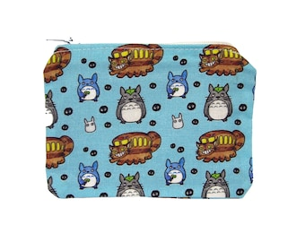 My Neighbor Totoro Zippered Pouch - Blue Coin Purse / Illustrated Fabric / Ghibli Pattern / Anime Print / Zipper Pouch