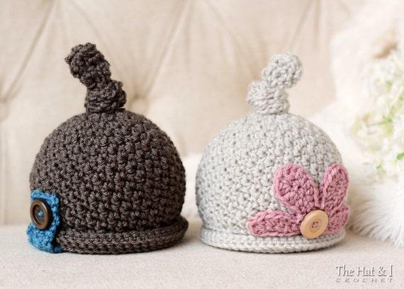 CROCHET PATTERN - Romeo & Juliet - crochet hat pattern, beanie pattern, baby boy hat, girl hat (Baby - Adult sizes) - Instant PDF Download