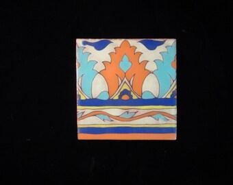 """VTG 1930 Style Terra-Cotta Handpainted and Glazed 6"""" X 6"""" Tiles Borderfrom Country Floors"""