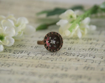 Victorian Button Ring Star of David Copper Burgundy Six Point Stars - made with a victorian button