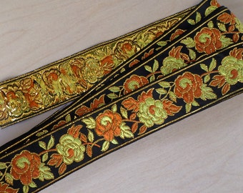 black gold embroidered trim, metallic floral ribbon trim, embroidered ribbon, 1 3/8 inch wide x 3 yards long