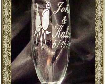 Custom Etched Personalized Champagne Flutes - Rosebud Champagne Glasses