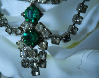 Vintage 1940's  Rhinestone and Emerald Green Stone Necklace Vintage Jewelry Center Drop Stones Design Creates Beauty Vintage Necklace