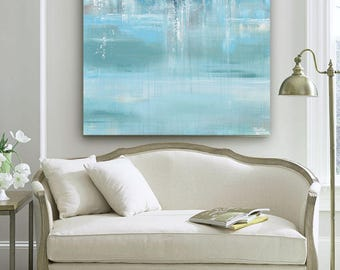 GICLEE PRINT Large Art Abstract Painting Blue White Grey Wall Art Home Decor Canvas Prints Coastal Wall Decor Aqua Seascape Beach Christine