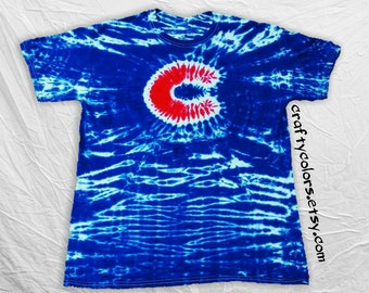 Tie Dye inspired by Chicago Cubs Baseball T Shirts Adult Sizes