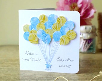 New Baby Boy Card - Personalised Baby Boy Balloons Card, Its a Boy, Personalized, Baby Congratulations Card 3D Balloons, Handmade Blue BHBB