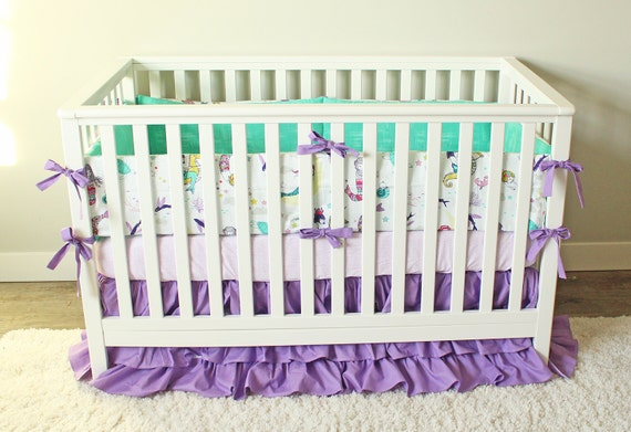 Mermaid Crib Bedding Ocean Girl Baby Bedding Purple Mint